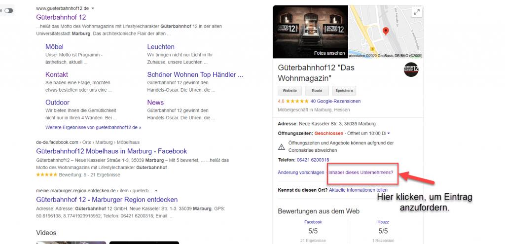 Bestehenden Google My Business Auftritt anfordern