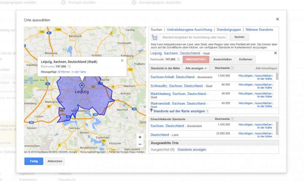 regionales Targeting bei Google Ads